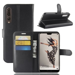 Litchi Texture Wallet Stand Leather Flip Case for Huawei P20 Pro - Black