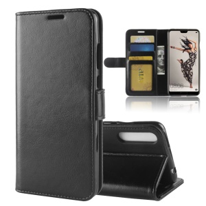 For Huawei P20 Pro Crazy Horse PU Leather Wallet Stand Case - Black
