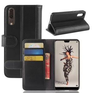 Genuine Split Leather Wallet Stand Case for Huawei P20 - Black
