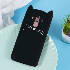 3D Moustache Cat Silicone Case for Huawei Mate 10 Pro - Black