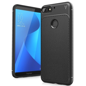 IVSO Gentry Series Litchi Texture Leather Coated Soft TPU Phone Cover for Huawei Honor 7C - Black
