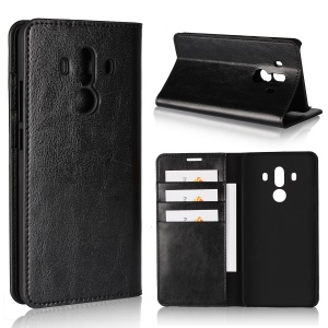 Crazy Horse Genuine Leather Wallet Case for Huawei Mate 10 Pro - Black