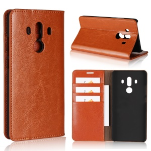 Crazy Horse Genuine Leather Wallet Shell Case for Huawei Mate 10 Pro - Brown