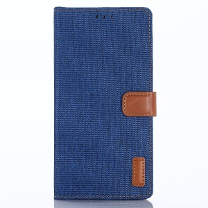 Jeans Cloth Leather Wallet Cover for Huawei P Smart / Enjoy 7S - Baby Blue