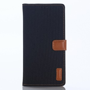 Jeans Cloth Leather Wallet Case Phone Shell for Huawei P Smart / Enjoy 7S - Black