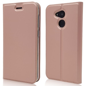 Magnetic Adsorption Leather Flip Phone Cover with Card Holder for Huawei Honor 6C Pro / V9 Play - Rose Gold