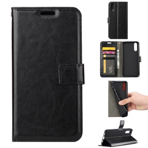 Crazy Horse Wallet Leather Stand Case for Huawei P20 - Black