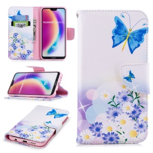 Patterned PU Leather Wallet Flip Phone Casing for Huawei P20 Lite / Nova 3e (China) -  Blue Butterfly and Flowers