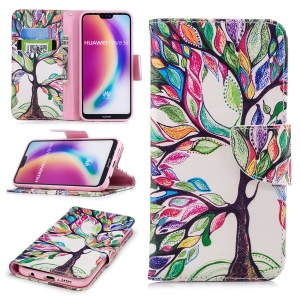 Patterned PU Leather Wallet Mobile Folio Cover for Huawei P20 Lite / Nova 3e (China) - Colorized Tree
