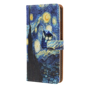 Patterned Leather Wallet Folio Cover with Stand for Huawei P20 Lite / Nova 3e (China) - Oil Painting