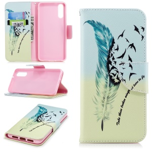 Patterned PU Leather Wallet Stand Protective Accessory Cover for Huawei P20 - Quill Pen and Birds