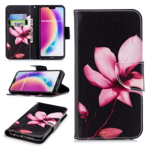 Pattern Printing PU Leather Magnetic Wallet Stand Cover for Huawei P20 Lite/Nova 3e - Pink Flower