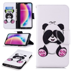Pattern Printing PU Leather Magnetic Wallet Stand Cell Phone Case for Huawei P20 Lite/Nova 3e - Cute Panda