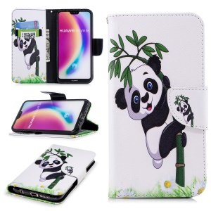 Pattern Printing PU Leather Magnetic Wallet Stand Mobile Phone Cover for Huawei P20 Lite/Nova 3e - Panda on Bamboo