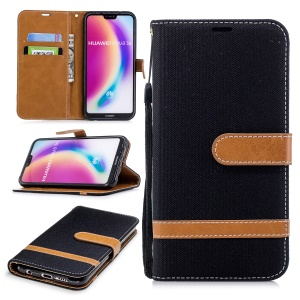 Jeans Cloth Texture Leather Wallet Stand Case for Huawei P20 Lite/Nova 3e - Black