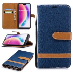 Jeans Cloth Texture Leather Wallet Stand Cellphone Case for Huawei P20 Lite/Nova 3e - Dark Blue