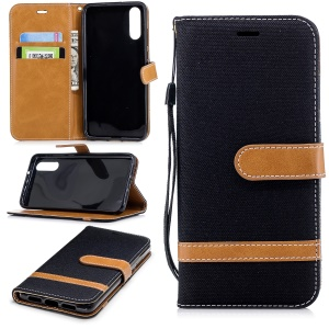 Splicing Jean Cloth PU Leather Wallet Stand Case with Strap for Huawei P20 - Black