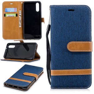 Splicing Jean Cloth PU Leather Wallet Stand Flip Cover with Strap for Huawei P20 - Dark Blue