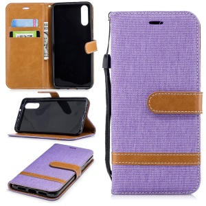Splicing Jean Cloth PU Leather Wallet Stand Flip Accessory Case with Strap for Huawei P20 - Purple