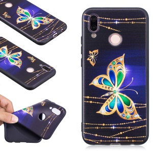 Embossment Soft TPU Back Shell for Huawei P20 Lite / Nova 3e (China) - Gold Butterfly