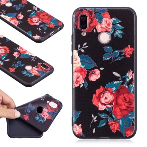 Embossment Soft TPU Thin Back Phone Shell for Huawei P20 Lite / Nova 3e (China) - Roses