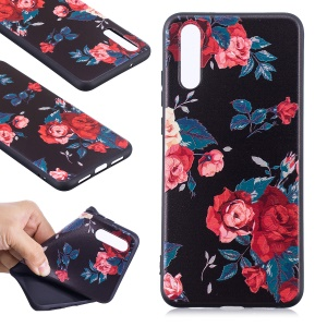 Guscio Mobile TPU Morbido In Rilievo Per Huawei P20 - Rose
