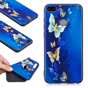 Embossment Soft TPU Phone Casing for Huawei Honor 9 Lite/9 Youth Edition - Blue Butterfly