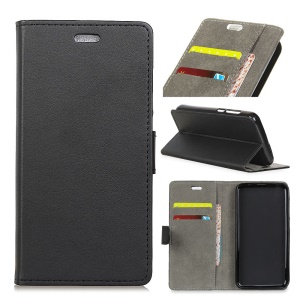 PU Leather Folio Flip Wallet Stand Cover Shell for Huawei P20 - Black
