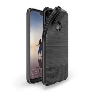 DUX DUCIS Mojo Series Carbon Fiber Texture Brushed TPU Mobile Phone Case for Huawei P20 Lite/Nova 3e - Black