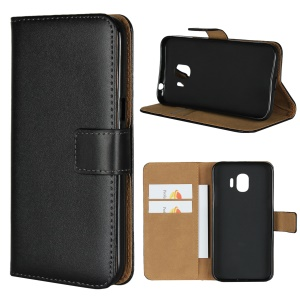 Split Leather Wallet Stand Mobile Phone Cover Shell for Samsung Galaxy J2 Pro 2018 - Black