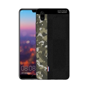NXE Camouflage Pattern Splicing TPU Back Case for Huawei P20 - Army Green Camouflage / Black