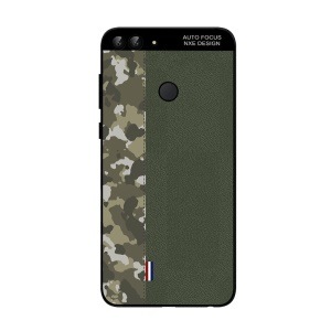 NXE Camouflage Pattern Splicing TPU Shell Case for Huawei P Smart / Enjoy 7S - Army Green Camouflage / Green