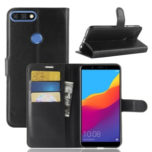 Litchi Skin Wallet Leather Stand Case for Huawei Y7 Prime (2018) / Honor 7C / Enjoy 8 - Black