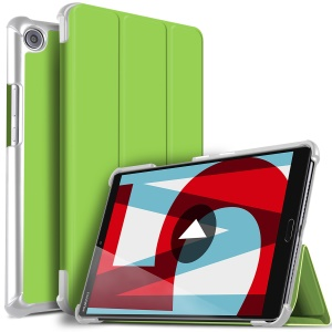Tri-fold Stand Smart Leather Case Shell for Huawei MediaPad M5 8 - Green