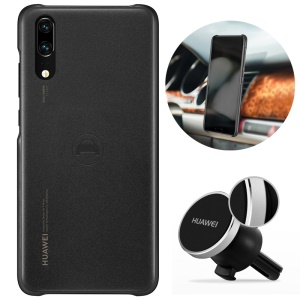 HUAWEI for Huawei P20 PU Leather Coated PC Hard Case + Magnetic Car Air Vent Mount Set - Black