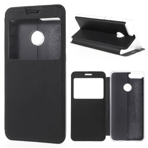 View Window PU Leather Case for Huawei Honor 9 Lite / Honor 9 Youth Edition - Black