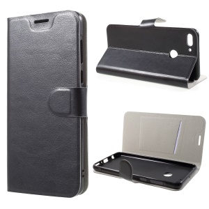 Crazy Horse Texture Card Holder Stand Leather Case for Huawei Y9 (2018) / Enjoy 8 Plus - Black