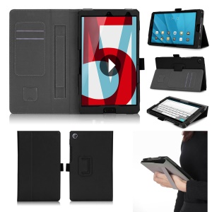 Foldable Stand PU Leather Protective Case for Huawei MediaPad M5 8 - Black