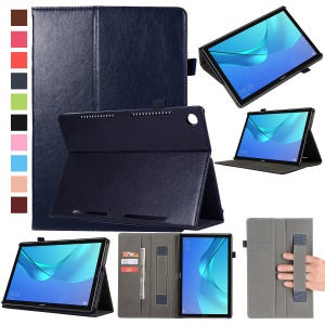 Wallet Stand Leather Tablet Cover Case with Elastic Band for Huawei MediaPad M5 10/M5 10 (Pro) - Dark Blue