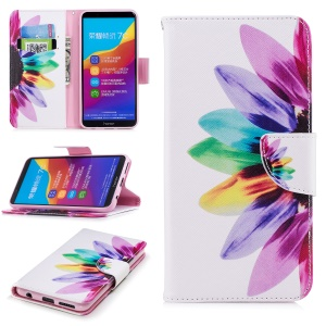 Pattern Printing Wallet Leather Stand Cover for Huawei Honor 7C/Enjoy 8 /Y7 Prime (2018) - Colorful Petals