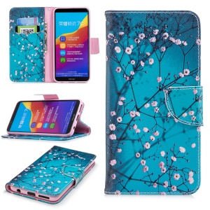 Pattern Printing Wallet Leather Stand Case for Huawei Y7 Prime (2018)/ Honor 7C/Enjoy 8 - Tree with Flowers
