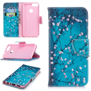Pattern Printing PU Leather Wallet Stand Cover Case for Huawei P Smart/Enjoy 7S - Wintersweet