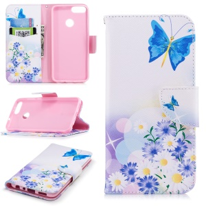 Pattern Printing PU Leather Wallet Stand Mobile Phone Case for Huawei P Smart/Enjoy 7S - Blue Butterfly and Flowers