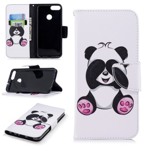 Pattern Printing PU Leather Magnetic Wallet Stand Case for Huawei P Smart/Enjoy 7S - Cute Panda