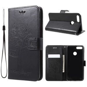 Imprint Tree Owl Pattern Wallet Stand Leather Cover for Huawei Y9 (2018) / Enjoy 8 Plus - Black