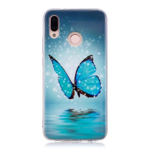Luminous Phone Case IMD Pattern TPU Phone Case for Huawei P20 Lite / Nova 3e - Shining Blue Butterfly