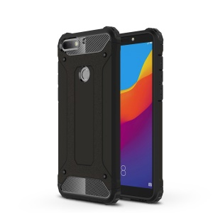 Heavy Duty Rugged Combo Phone Case (Plastic + TPU) for Huawei Enjoy 8/Honor 7C/Y7 Prime (2018) - Black