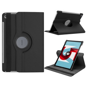 Litchi Grain Leather Stand Tablet Case for Huawei MediaPad M5 10/M5 10 (Pro) with Elastic Band - Black