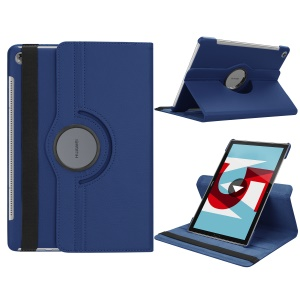 Litchi Grain Leather Stand Protective Shell for Huawei MediaPad M5 10/M5 10 (Pro) with Elastic Band - Dark Blue