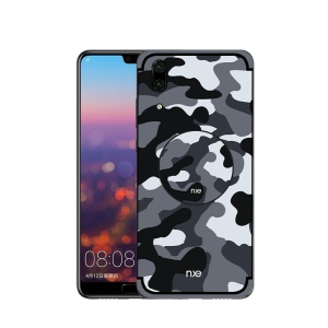 NXE Camouflage PC + TPU Hybrid Back Case for Huawei P20 with Kickstand - Grey